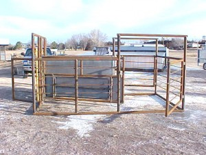 "8'6"" x 14' Calving and Nursing Pen – Has a 9'6"" gate which forces cow into the head gate, with the door in this gate to let a calf nurse. Has 3 entrance gates."
