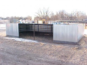 "11'6"" Calf shed – 4' tall in the front 11'6"" x 24' cow shed – 6' tall in to 3' tall in the back front to 5' tall on back wall"