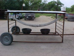 2 Tub Salt Feeder can be made portable with wheels and hitch